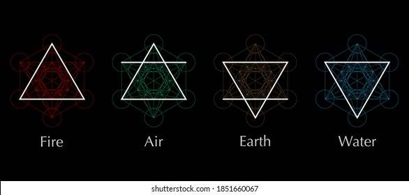 four elements icons, line, triangle and round symbols set template. Air, fire, water, earth symbol. Pictograph. Colorful Alchemy symbols isolated on black background. Magic vector decorative elements