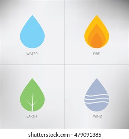 Four elements icons, symbols. Vector logo template. Wind, fire, water, earth symbol