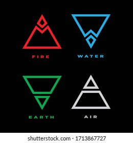 Four elements icons, Vector logo template. water, fire, air, earth symbol, vector illustration.
