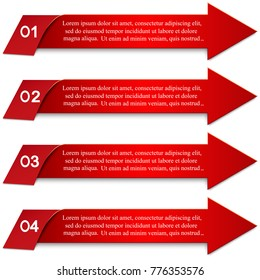 Four elements of the infographics in the form of arrows. An infographic template for business with a four-step red design with numbers and text. Elements of infographics for business and advertising.