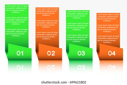 Four elements of infographics.Four steps infographics report, template, chart, scheme.An infographic template for business with a four-stage design with two colors, numbers and text.