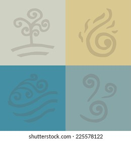 four elements. land. fire. water. air. icons. Doodle