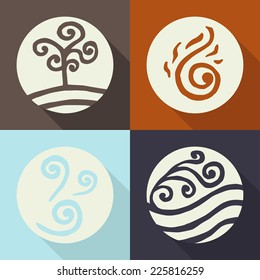 four elements. land. fire. water. air. icons. color