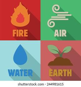 four elements long shadow flat, vector symbols