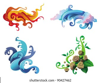 The Four Elements of nature, fire, air, water and earth, vector illustration