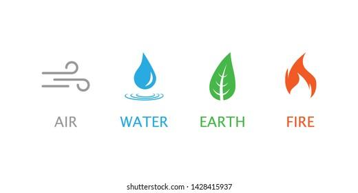 Four elements symbol. Vector illustration, flat design.