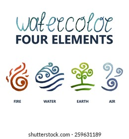 four elements watercolor (Fire, Water, Earth, Air)