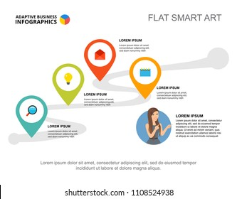 Four elements workflow template for presentation. Business data visualization. Plan, finance, management or marketing creative concept for infographic, report, project layout.