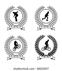 Four emblem depicting athletes. Coat of Arms consists of a wreath and the silhouette of an athlete. They are located on a white background.