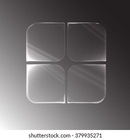 Four empty glass plastic plate square shape with rounded corners and reflections