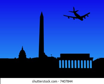 four engine plane arriving in Washington DC illustration