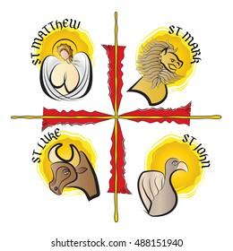 Four evangelists - symbols: angel, lion, ox or a bull and eagle. Four Gospels - Matthew, Mark, Luke, John. modern simple vector illustration.