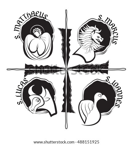 Four Evangelists Symbols Angel Lion Ox Stock Vector Royalty Free