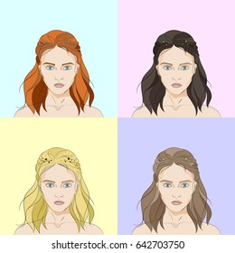 Four faces of women with long hair of different colors on different backgrounds