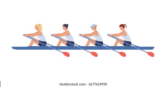 Four female athletes swim in a boat. Concept of competitions in academic women 's rowing. Vector illustration in flat design style.