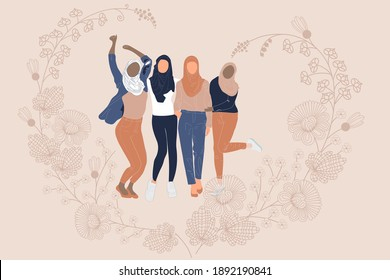 Four Female Hijab Sister Hugging Together. Arabian Muslim women's on the beige flowers background. Happy Sister or Sibling Day, World hijab day, Emirati Women's day.