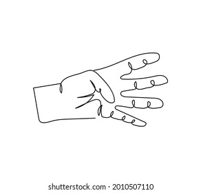 Four fingers gesture one line art. Continuous line drawing of gesture, hand, communication.