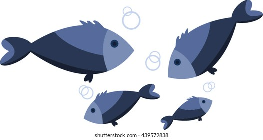 Four fishes isolated on white