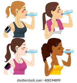 Four fit sport women of different ethnicity drinking refreshing bottled mineral water