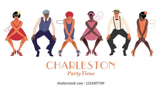 Four flapper girls and two man wearing retro clothes dancing Charleston. Vector Illustration