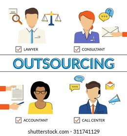 Four flat contour illustrations of types of outsoursing for business start-up. Lawer, consultant, accountant, call center operator