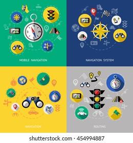Four flat navigation icon set with descriptions of mobile navigation navigation system routing vector illustration