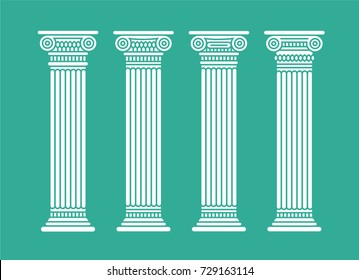 Four flat short white graphic antique roman columns. Vector illustration. Isolated.