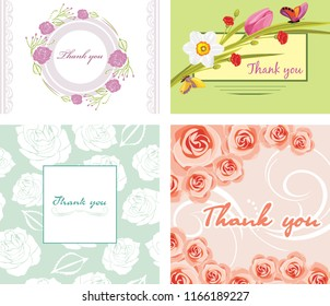 Four floral thank you cards. Vector