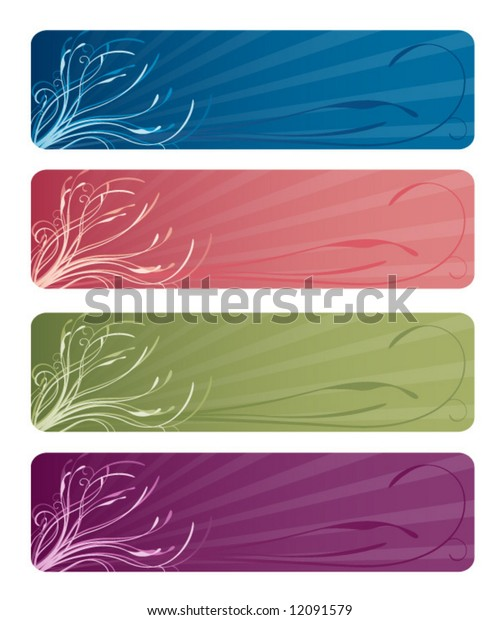 Four floral web banners in deep ocean blue, rosy pink, mossy green, and perfect purple