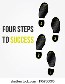 Four foot steps to success concept for layout, brochure,web design or presentation in vector.
