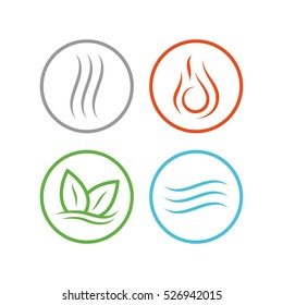 Four forces elements. Water, fire, earth, air. The symbols of magic and power. The layout for the logo.