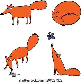 Four foxes set. Hand drawn illustration.