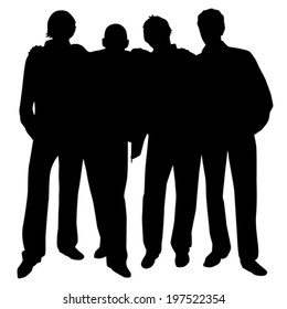 four friends hugging each other by the shoulders vector silhouette