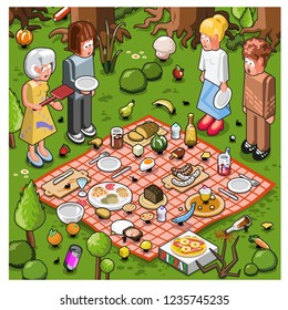 Four friends looking desparated on picnic blanket while ants carry away the food (isometric vector)