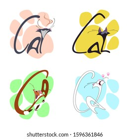 Four funny cats on the background of multi-colored cat footprints. Vector illustration. Cartoon character