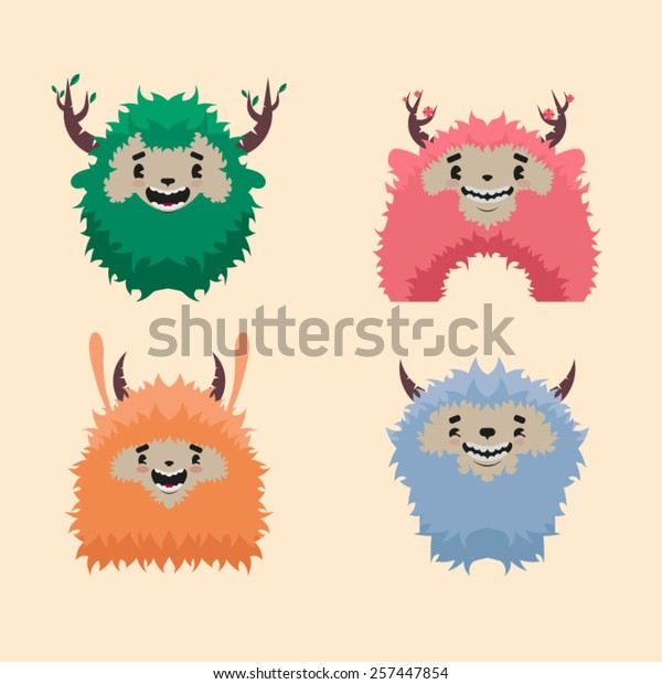 Four Funny Monsters Horns Stock Vector Royalty Free 257447854