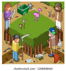 Four gardeners about to mow a square garden with high grass (vector cartoon)