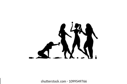 Four Girl, woman, lady drinking. Drunk people, drunk party event, vector silhouettes icon, sign illustration on white background