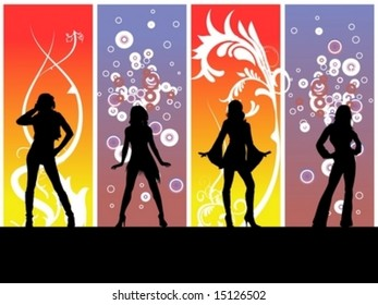 Four girls posing on a dance floor, colorful backround behind them