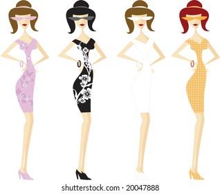 Four girls in short dresses.