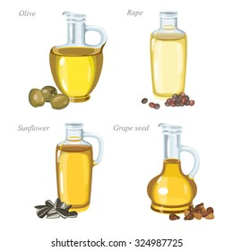 Four glass bottles with oil and oil seeds in front of them. / Bottles with olive oil, rape oil, sunflower oil and grape seeds oil.