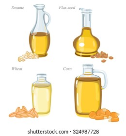 Four glass bottles with oil and oil seeds in front of them. / Bottles with sesame oil, flax oil, wheat oil and corn oil.