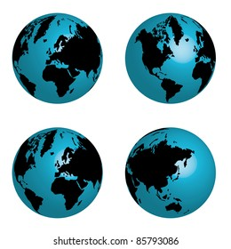 four globe - blue and black colors