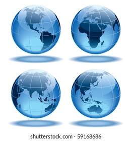 Four globes showing earth with all continents.