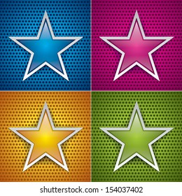 Four glossy stars for holey texture. Blue, pink, orange and green. Vector set background