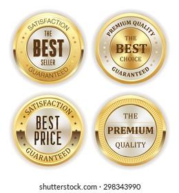 Four gold badges on white background
