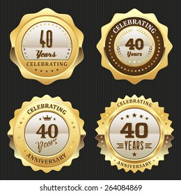 Four gold celebrating 40 years badges