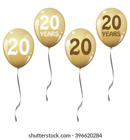 four golden jubilee balloons for 20 years