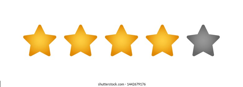 four golden star rating illustration vector