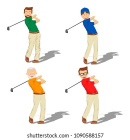 Four golf male players of different ages hitting ball